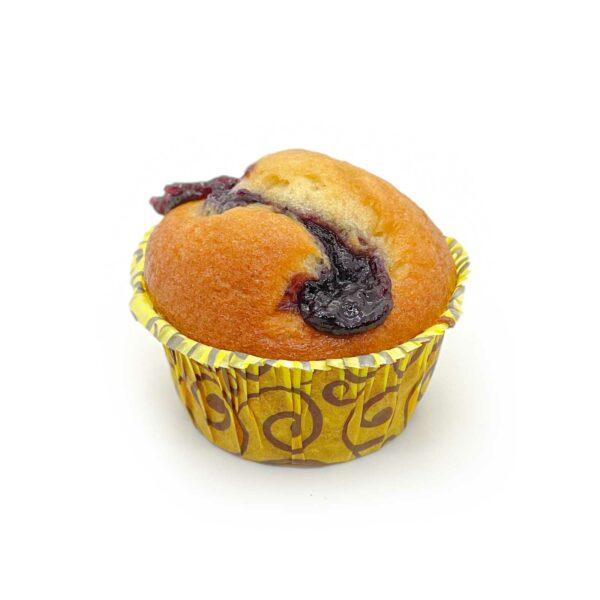 Mjuk, saftig muffin med blåbärssylt.